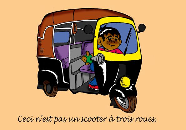 autorikshaw, magritte, pipe, parodie, inde