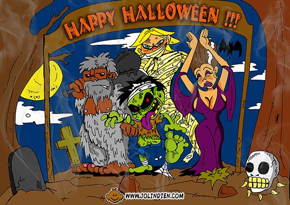 halloween, zombie, dracula, momie, cimetiere