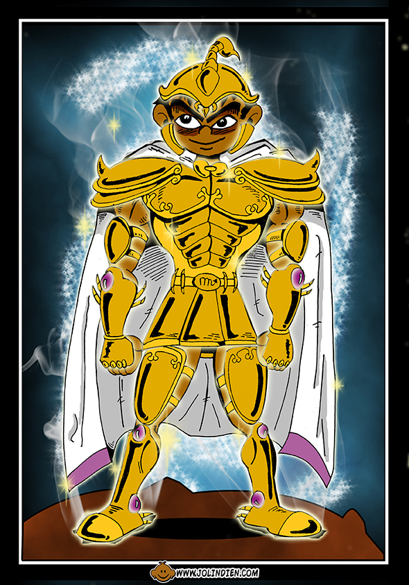 armure d'or du scorpion, milo, cape