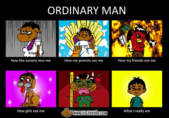 homme ordinaire, mame, mouton, chien, diable